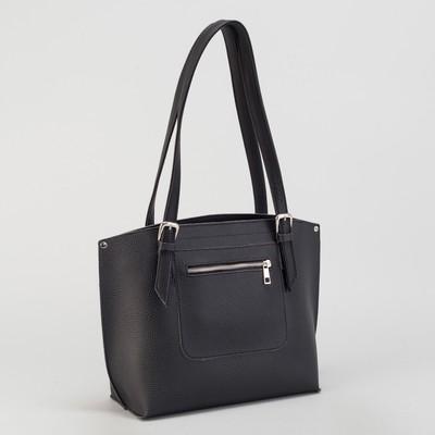 Сумка женская, с косметичкой, отдел на молнии, наружный карман, длинный ремень, цвет чёрный