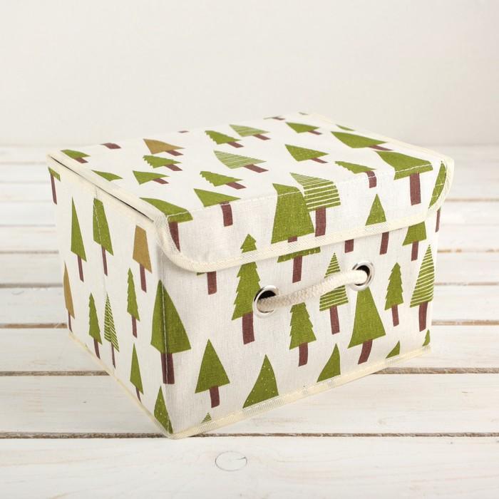 """Короб для хранения с крышкой 25×20×17 см """"Ёлки"""""""