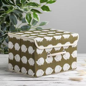 Короб для хранения с крышкой «Ёжики», 25×20×17 см, цвет зелёный