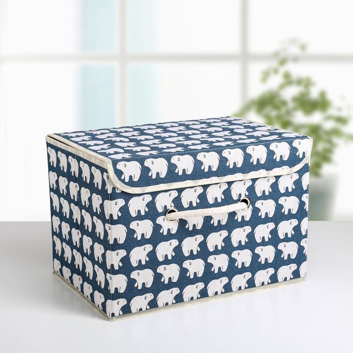 Короб для хранения с крышкой «Северные мишки», 37×26×24 см, цвет синий - фото 308331827