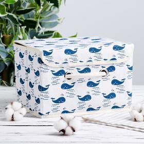 Короб для хранения с крышкой «Киты», 25×20×17 см, цвет белый