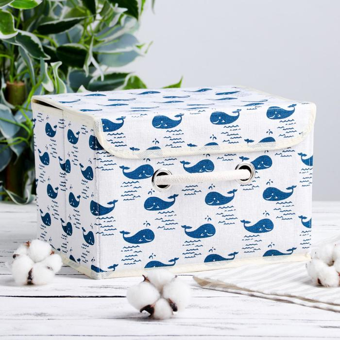 Короб для хранения с крышкой «Киты», 25×20×17 см, цвет белый - фото 4466069