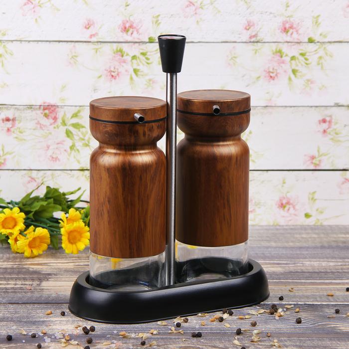 """Набор бутылей для соуса и масла 370 мл """"Модерн"""", 2 шт, на подставке, цвет коричневый"""