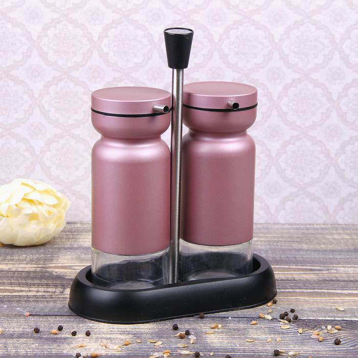 """Набор бутылей для соуса и масла 370 мл """"Модерн"""", 2 шт, на подставке, цвет розовый"""