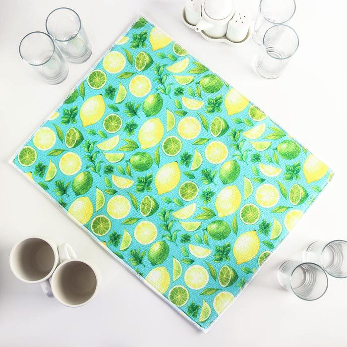 Салфетка для сушки посуды Доляна «Лимоны», 38×51 см, микрофибра