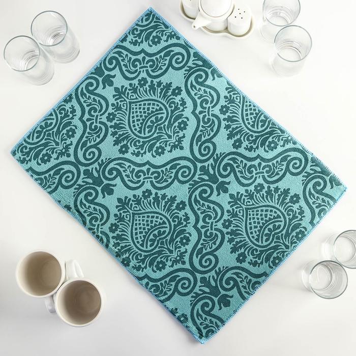 """Коврик для сушки посуды 38×51 см """"Вензель"""", микрофибра, цвет бирюзовый"""