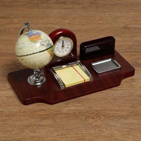 A set of table Signs: clock, globe, business card holder, a block of paper tray for paper clips