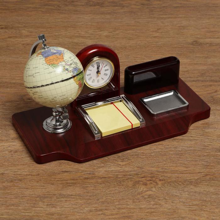 Набор настольный «Знаки»: часы, глобус, визитница, блок для бумаги, лоток для скрепок