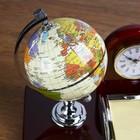 Набор настольный 5в1 (часы, подст п/виз,Глобус,листы д/зам,ст-н д/скреп) 19х24х16,5 см - фото 872933