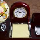 Набор настольный 5в1 (часы, подст п/виз,Глобус,листы д/зам,ст-н д/скреп) 19х24х16,5 см - фото 872934
