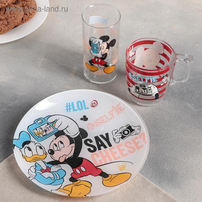 "Набор посуды 3 предмета ""Микки Маус и Дональд Дак"": стакан 270 мл, кружка 250 мл, тарелка 20 см"