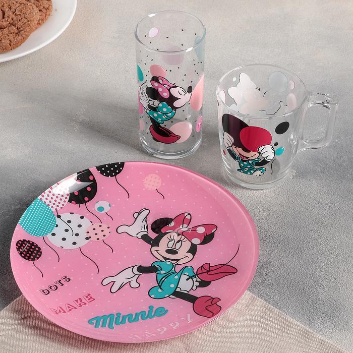 "Набор посуды ""Минни Маус"", 3 предмета: стакан 270 мл, кружка 250 мл, тарелка 20 см"