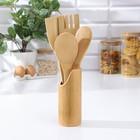 """Набор кухонных принадлежностей """"Дуновение леса"""", 4 предмета на подставке: 2 лопатки, 2 ложки"""