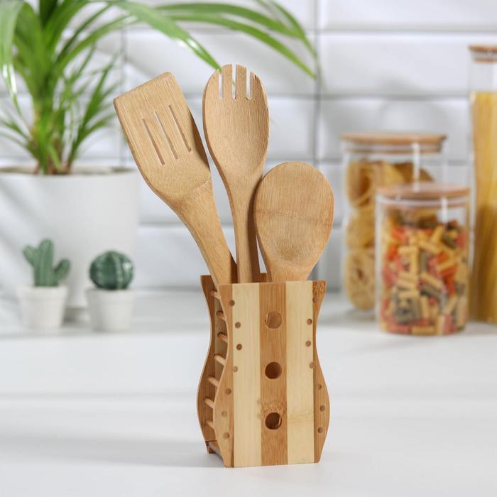"""Набор кухонных принадлежностей """"Дуновение леса"""", 3 предмета на подставке: 2 лопатки, ложка"""