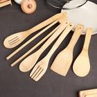 """Набор кухонных принадлежностей """"Дуновение леса"""", 7 предметов на подставке: щипцы, ложка, 4 лопатки"""