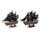 Корабль сувенирный малый «Трёхмачтовый», борта чёрные с белой полосой, паруса чёрные, 3,5 × 14 × 13 см