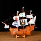 Корабль сувенирный средний «Трёхмачтовый», борта светлое дерево, паруса с символами, 33 х 8 х 29 см