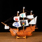 "Ship souvenir average ""three-masted"" side light wood, sails with symbols, 33 x 8 x 29 cm"