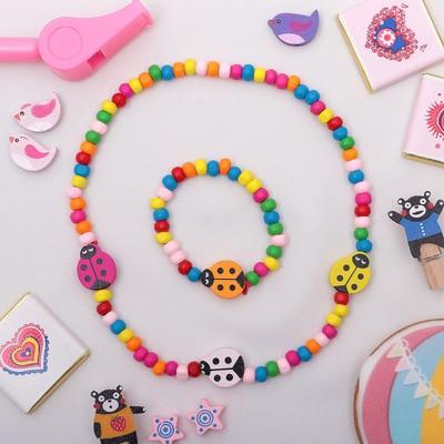 """Набор детский """"Выбражулька"""" 2 предмета: бусы, браслет, божья коровка, цветной"""