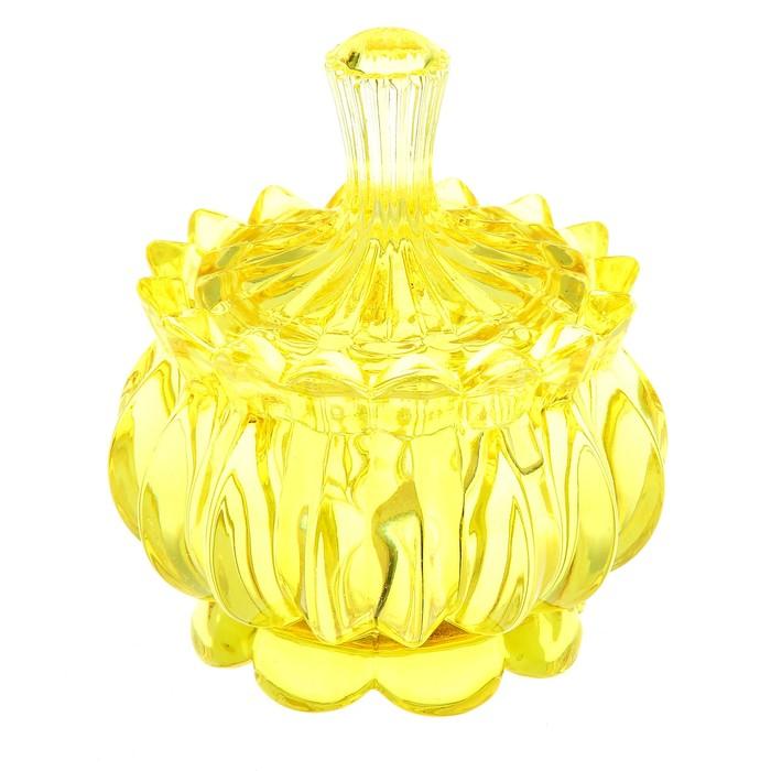 """Сахарница стеклянная с крышкой 150 мл """"Галерея"""", 8х11 см, цвет желтый"""