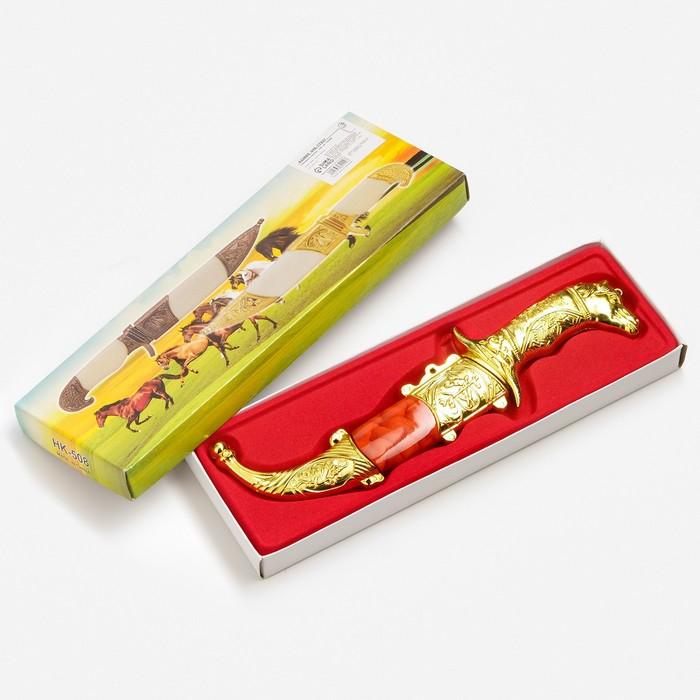 Сувенирный нож,19 см, рукоять в форме головы лошади, микс - фото 8875144