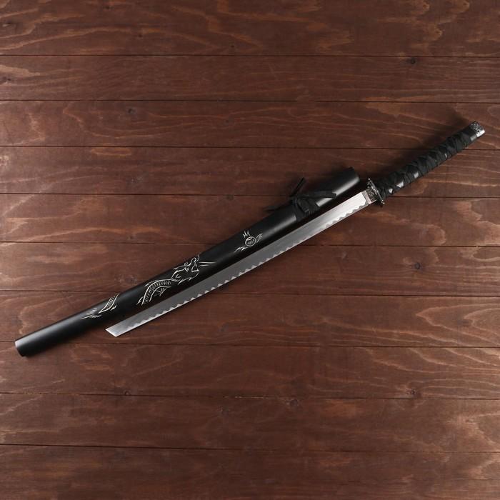 Сувенирное оружие «Катана на подставке», чёрные ножны с резным драконом