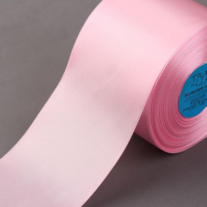 Лента атласная, 75 мм × 33 ± 2 м, цвет светло-розовый №067