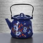 Чайник сферический 3,5 л, с декором, цвет кобальтовый
