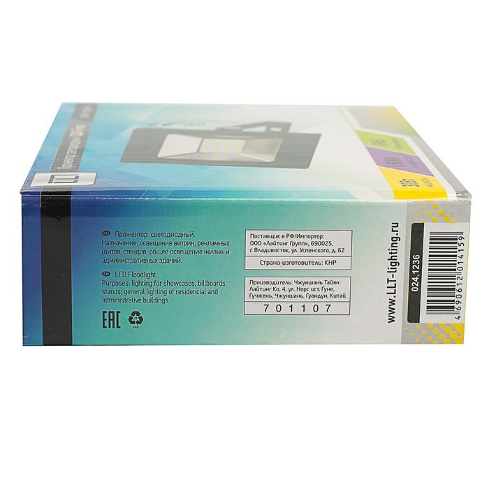 Прожектор светодиодный LLT СДО-5-30, 30 Вт, 230 В, 6500 К, 2250 Лм, IP65 - фото 4676
