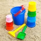Набор для игры в песке №3: ведёрко, 7 формочек, грабельки, лопатка