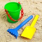 Набор для игры в песке №28: ведёрко, лопатка, грабельки