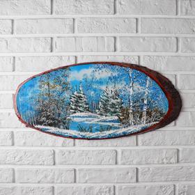 """Панно на спиле """"Зима"""", 60 см, каменная крошка, горизонтальное, микс"""