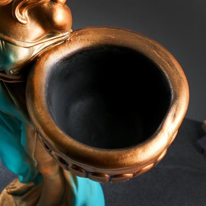 """Фигура с кашпо """"Девушка в платье"""" бронза голубой-зеленый  84см"""