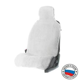 Seat cover, natural wool, white
