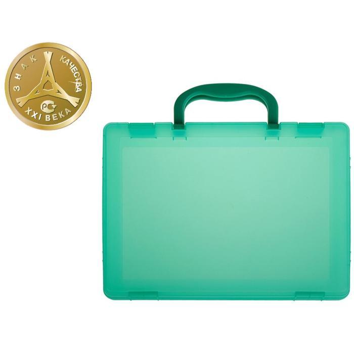 Портфель-кейс А4, тонированный зеленый