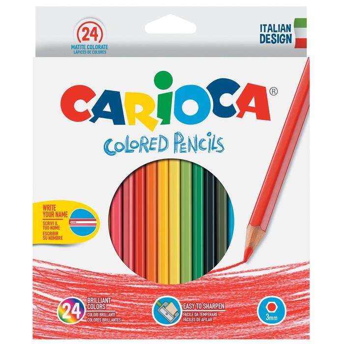 Карандаши 24 цвета, Carioca, 3.0 мм, шестигранные, в картонной коробке