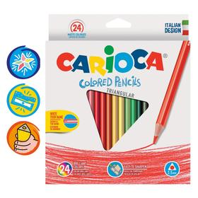 Pencils 24 colors Carioca 42516 3.5 mm trihedral, cardboard box