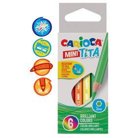 """Карандаши 6 цветов мини Carioca """"Tita mini"""", 85 мм, грифель 3.0 мм, шестигранные, пластиковые, картон, европодвес"""