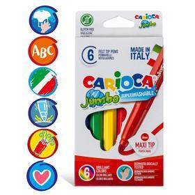 """Фломастеры 6 цветов Carioca """"Maxi. Jumbo"""" 6 мм, утолщенные, смываемые, картон, европодвес"""