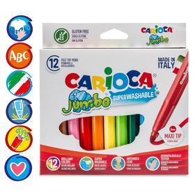 """Фломастеры 12 цветов Carioca """"Maxi. Jumbo"""" 6 мм, утолщенные, смываемые, картон, европодвес"""