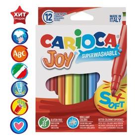 """Фломастеры 12 цветов Carioca """"Joy"""" 2.6 мм, смываемые, картон, европодвес"""