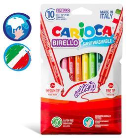 """Фломастеры 10 цветов двусторонние Carioca """"Birello"""" 2.6/4.7 мм, смываемые, картон, европодвес"""