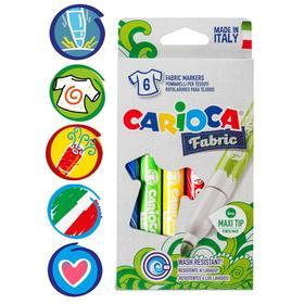 """Фломастеры для ткани 6 цветов Carioca """"Fabric Liner"""" 6.0 мм, картон, европодвес"""