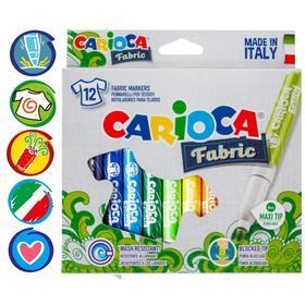 """Фломастеры для ткани 12 цветов Carioca """"Fabric Liner"""" 6.0 мм, картон, европодвес"""
