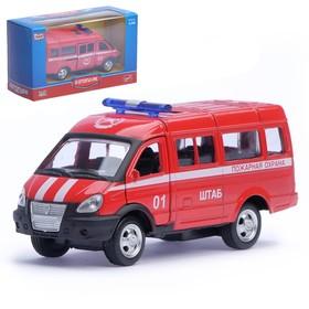 """Машина металлическая """"Микроавтобус Пожарная охрана"""", масштаб 1:50, инерция"""