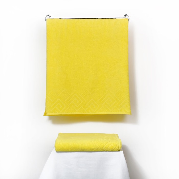 Полотенце махровое «Poseidon» 100х150, цвет жёлтый