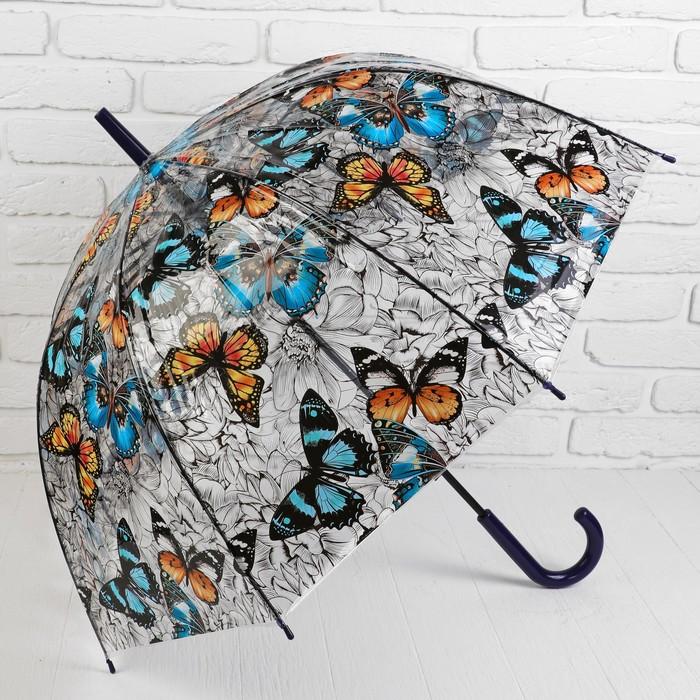Зонт - трость полуавтоматический «Бабочки», 8 спиц, R = 43 см