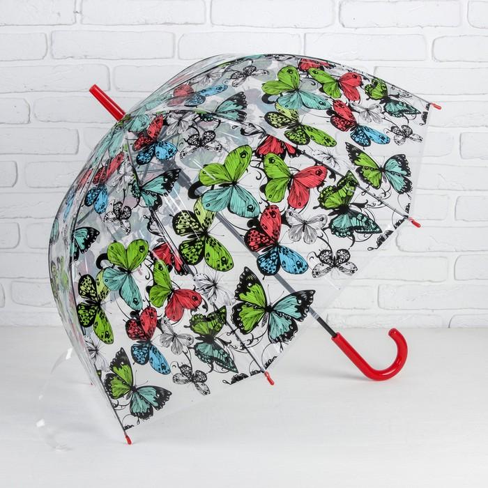 Зонт - трость полуавтоматический «Бабочки», 8 спиц, R = 41 см