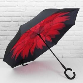 Зонт - наоборот механический «Цветок», прорезиненная ручка, 8 спиц, R = 56 см, цвет чёрный/красный