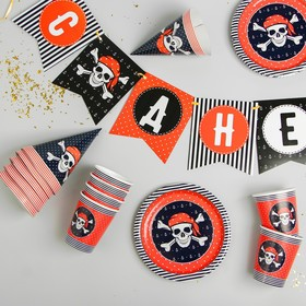 "Set of paper dishes ""happy birthday"", the pirate (6 plates , 1 garland , 6 glasses, 6 to"